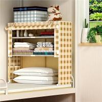 宿舍衣物收纳神器简易折叠布艺储物柜子寝室上下铺床上小号衣柜架 G1款 经典格子