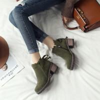 韩版简约花边粗跟磨砂女鞋子秋冬新款中跟短靴复古大码休闲马丁靴 绿色 加毛内里