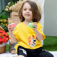 【2件3折到手价:49】小猪班纳亲子装男童t恤夏季女童短袖卡通上衣