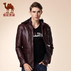 骆驼男装秋季新款青年男士皮衣纯色休闲可脱卸帽百搭外套潮
