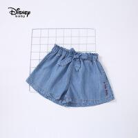 【3折券后价:45元】迪士尼宝宝快乐星球女童高腰梭织牛仔短裤夏季