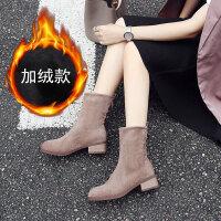 2019冬季新款网红马丁靴中跟加绒瘦瘦靴粗跟百搭chic韩版短靴女鞋