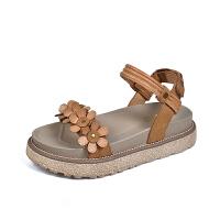 夏季39元粉丝福利夏季厚底松糕 平底绑带罗马凉鞋子 217-1 棕色
