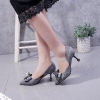 小高跟鞋女春单鞋细跟5公分格子布中空性感蝴蝶结夏季舒适镂空猫