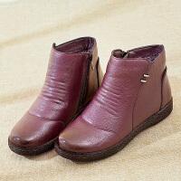 妈妈棉鞋加绒短靴女中年女鞋平底滑中老年皮鞋老人棉靴