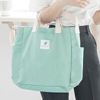 帆布包女单肩手提无纺布购物袋子ins折叠便携学生装书韩版大容量 纵向中号