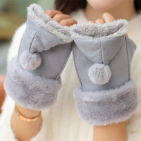 毛绒手套女冬季韩版潮露指翻盖加绒加厚保暖半指学生写字毛绒手套