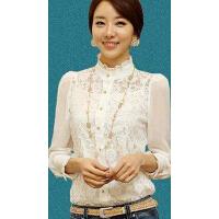 新款女士打底衫雪纺衬衣韩版修身高领长袖蕾丝上衣