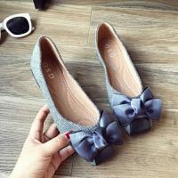 甜美蝴蝶结千鸟格布面秋季浅口方头大码舒适平跟平底女单鞋工作鞋