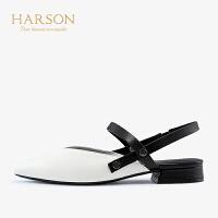 【 立减120】哈森2019夏季新款羊皮革时尚休闲女鞋 尖头后空平底凉鞋女HM99402