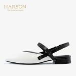 【秋冬新款 限时1折起】哈森2019夏季新款羊皮革时尚休闲女鞋 尖头后空平底凉鞋女HM99402