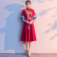2019新款新娘秋款宴会气质结婚晚礼服小个子回门显瘦红色连衣裙 旗袍