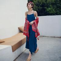 泰国吊带开叉连衣裙巴厘岛海边度假长裙夏性感露背沙滩裙显瘦超仙