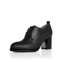 卡迪娜 秋新款真皮羊皮系带圆头踝靴 圆头粗跟深口单鞋女 KL61501