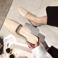 包头拖鞋女2019新款时尚软皮软底方头半包头拖鞋简约百搭外穿女鞋