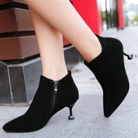 高跟短靴女细跟2018秋冬季新款尖头性感夜店女鞋时尚百搭猫跟靴子