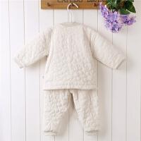 男女宝宝冬季有机彩棉保暖内衣婴幼儿夹棉对襟睡衣家居套装两件套
