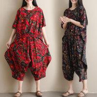 适合胖女人穿的套装文艺大码宽松减龄显瘦时尚两件套夏装新款