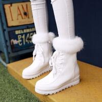 中靴加绒冬靴冬款高跟秋冬季内增高半靴雪地靴子女鞋粉色白色