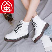 人本冬季粗跟复古马丁靴女英伦风学生短靴女韩版百搭加绒休闲鞋女