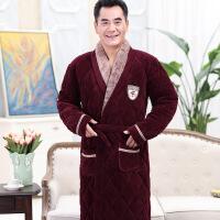 冬季超厚夹棉袄加绒睡袍男女中长款老年人爸爸妈妈珊瑚绒睡衣