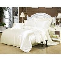 冬季纯色宽幅真丝四件套桑蚕丝被套床单笠丝绸缎套件床上用品