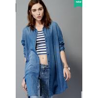 时尚个性牛仔衬衫牛仔衬衫长袖中长款衬衫女长款防晒衬衫