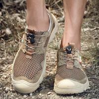 夏季户外登山鞋男真皮透气网面男士耐磨徒步鞋轻便运动鞋