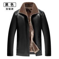 冬季男士皮衣加厚加绒外套中年皮毛一体PU夹克中老年人大码爸爸装
