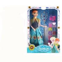 冰雪奇缘娃娃艾莎公主玩具爱莎仿真芭芘比洋娃娃套装女孩单个爱沙 二代安娜音乐版 带灯光音乐 31CM