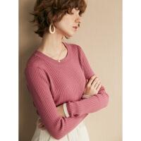 初棉甜梅子 多色圆领100%羊毛衫2019新款撞色套头针织毛衣打底