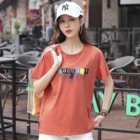 新款棉宽松大码女士t恤衫韩版印花时尚宽松舒适上衣t恤上衣