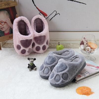 儿童棉拖鞋女冬天保暖软底家居3-7岁中大童男童室内拖鞋
