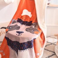 儿童毛毯卡通双层加厚珊瑚绒法兰绒羊羔绒毯子幼儿园婴儿床单被子 白色 小浣熊 95*140CM