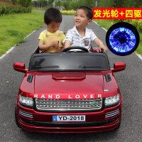 儿童电动车四轮双座双驱动大号越野玩具可坐双人遥控汽车 四驱 烤漆红+蓝牙遥控+摇摆+发光轮+皮座+V大电