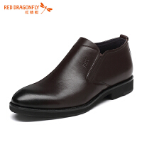 红蜻蜓男鞋时尚真皮商务休闲皮鞋男士套脚一脚蹬鞋子男