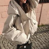 短款女冬装连帽外套加厚棉袄韩版棒球服棉衣