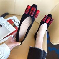 舒适复古风女士单鞋春季百搭浅口尖头平底新款时尚女鞋