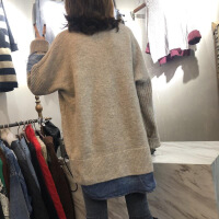 新颖潮牌冬季新款拼接假两件高领针织衫毛衣女个性显瘦外套 均码