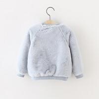 冬季童装 0-1-2-3岁加厚卫衣外出女童冬装外套婴儿衣服加绒毛毛衣