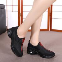 潮流时尚中跟坡跟女鞋软底轻巧跳舞运动单鞋广场舞蹈鞋 舞蹈51黑色