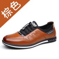 2018新品牛皮男士休闲鞋时尚青年男鞋滑男皮鞋运动鞋酷 棕色单鞋款 38