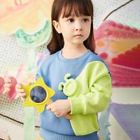 【秒杀价:135元】马拉丁童装女小童卫衣春装2020年新款洋气宽松套头短款卫衣