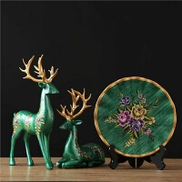 客厅装饰摆件工艺品天鹅三件套电视柜酒柜摆设现代家居简约 麋鹿