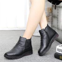 妈妈鞋女保暖平底棉鞋中老年人皮鞋老人靴子中年短靴