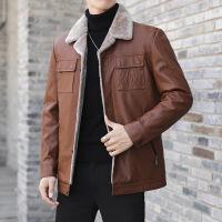 秋冬季外套潮夹克皮毛一体中年加绒加厚爸爸冬装皮衣男士皮羽绒服
