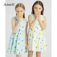安奈儿童装女童无袖连衣裙2021新款洋气女孩公主裙夏装时髦背心裙2