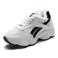 休闲鞋百搭厚底女鞋学生ulzzang冬季加绒棉韩版运动鞋保暖小白鞋 白色 S08K
