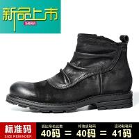 新品上市冬季加绒男靴子真皮马丁靴男短靴英伦皮靴中帮靴男高帮皮鞋