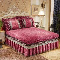 公主风蕾丝床罩 欧式夹棉天鹅绒蕾丝床裙 单件加厚秋冬保暖床套床罩1.8/2米定制